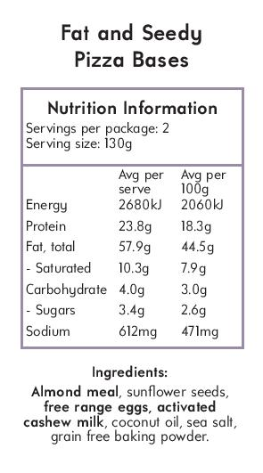 Nutritional Panel Seedy Pizza Bases